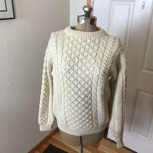 LL Bean Irish Wool Fishermans Sweater